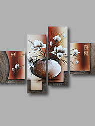 cheap -Hand-Painted Floral/Botanical Modern Canvas Oil Painting Home Decoration Four Panels