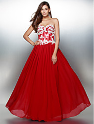billige -A-linje Kæreste Gulvlang Chiffon Farveblok Skolebal / Formel aften Kjole med Applikeret broderi ved TS Couture®