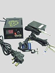 billige -Komplet tatovering kit 1 x stål tatoveringsmaskine til optegning og skygge 1 Tattoo Maskiner LCD strømforsyning Blæk sendes separat