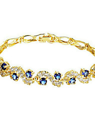 cheap -Women's Chain Bracelet - Zircon, Cubic Zirconia, Gold Plated Fashion Bracelet Blue / Transparent For Wedding / Party / Daily / Casual / Sports