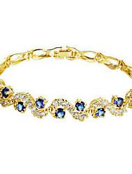 Feminino Pulseiras em Correntes e Ligações Zircão Zircônia Cubica Chapeado Dourado Moda Azul Transparente Jóias 1peça