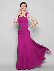 cheap -Mermaid / Trumpet Square Neck Floor Length Chiffon Bridesmaid Dress with Ruching by LAN TING BRIDE®
