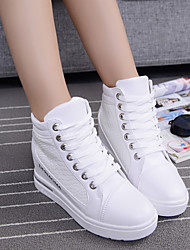 cheap -Women's Shoes Canvas Spring / Summer / Fall Wedge Heel Lace-up White / Black