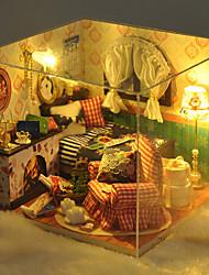 Weihnachten romantisches Geschenk Spielzeughandmodell diy Holzpuppenhaus inklusive aller Möbel Leuchten Lampe LED-