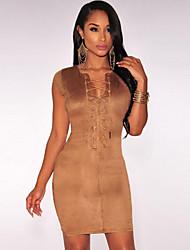preiswerte -Damen Kleid - Bodycon Sexy Solide Mini Polyester / Elasthan V-Ausschnitt