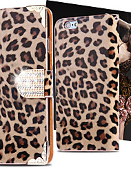 cheap -Cool Wild Leopard PU Leather Case Flip Cover Bling Diamond Card Slot For iPhone 5/5S (Assorted Colors)