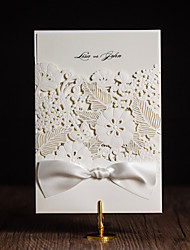 Gate-Fold Wedding Invitations 50-Invitation Cards Artistic Style Modern Style Floral Style Art Paper Ribbons