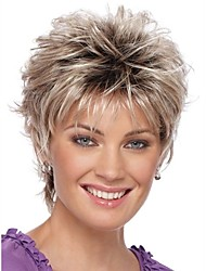 cheap -2016 New Curly Short Women Wigs Synthetic Hair Wig Blonde with Dark Roots Ombre hair Wigs