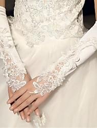 Elbow Length Fingerless Glove Satin Bridal Gloves