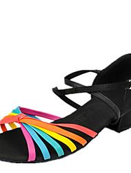 Latin Kid's Dance Shoes  Sandals Satin Chunky Heel Black