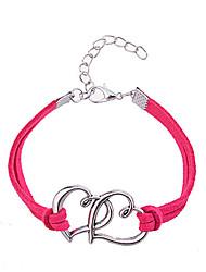 Feminino Pulseiras Amizade Pele Liga Original Moda Formato de Coração Jóias Rosa Vermelho Jóias 1peça