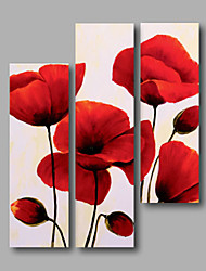 Ready to Hang Stretched Framed Hand-painted Oil Painting Canvas Wall Art Red Poppies Flowers Abstract Three Panels