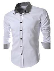 Herren Hemd-Einfarbig Büro / Übergröße Baumwolle / Polyester Lang Schwarz / Blau / Weiß / Grau