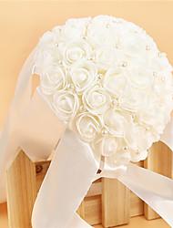 """baratos -Bouquets de Noiva Buquês Casamento Festa / Noite Cristal Strass Cetim Espuma 10.63""""(Aprox.27cm)"""