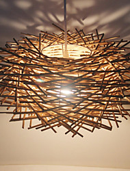 cheap -30CM Modern Rural Cany Art Woven Rattan Restaurant Single Head Droplight Lamp LED