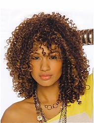cheap -Synthetic Wig Kinky Curly African American Wig Highlighted/Balayage Hair Brown Women's Capless Natural Wigs Short Synthetic Hair