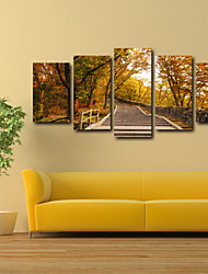 cheap -5 Panels Autumn Forest and the Stone Staircase Landscape Picture Print Wall Art on Canvas Unframed