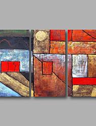 Pintados à mão AbstratoModerno 3 Painéis Tela Pintura a Óleo For Decoração para casa