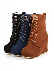 cheap -Women's Shoes Fleece Spring Fall Winter Platform Wedge Heel Mid-Calf Boots Lace-up For Casual Office & Career Dress Black Yellow Blue