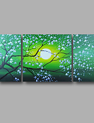 """cheap -Ready to Hang Stretched Hand-painted Oil Painting 48""""x24"""" Three Panels Canvas Wall Art Pink Blossom Flowers Green"""