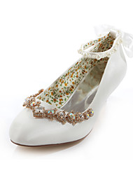 Women's Spring Summer Fall Silk Wedding Dress Party & Evening Low Heel Crystal Ivory