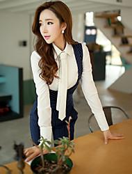 Women's 2016 New Spring Geometric White Shirt , Career Apparel Shirt Collar Long Sleeve Blouse