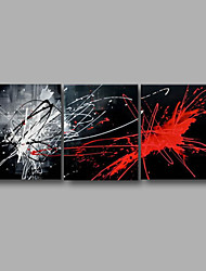 """cheap -Ready to Hang Hand-Painted Oil Painting Canvas Three Panels 60""""x24"""" Wall Art Modern Abstract Black Red"""