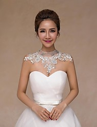Wedding  Wraps Collars Sleeveless Lace Wedding Crystal Pearls