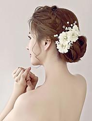 Imitation Pearl Rhinestone Fabric Organza Flowers Headpiece
