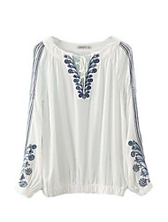cheap -Women's Solid White Blouse , Round Neck Long Sleeve