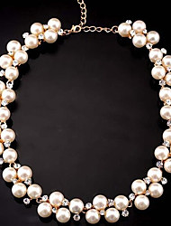 cheap -Women's Cute Style Statement Necklace Pearl Strands Pearl Imitation Diamond Alloy Statement Necklace Pearl Strands , Party