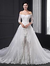 De Baile Sem Alças Cauda Catedral Tule Vestido de casamento com Apliques de Rose Field