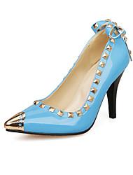 Women's Heels Spring Summer Fall Comfort PU Wedding Casual Party & Evening Stiletto Heel Rivet Lace-up Metallic toe White Black Red Blue