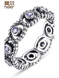 Homens Mulheres Feminino Anéis Grossos Maxi anel Luxo Prata de Lei Imitações de Diamante Formato Circular Jóias Casamento Festa Diário
