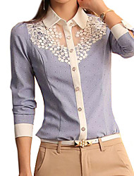 cheap -Women's Shirt - Solid Colored Blue & White, Lace Shirt Collar