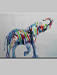 cheap -Hand-Painted Abstract Lovely Animal Modern Zebra Oil Painting , Canvas One Panel Ready to Hang