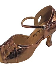 Women's Snake Skin Upper Dance Shoe for Latin and Salsa Customizable