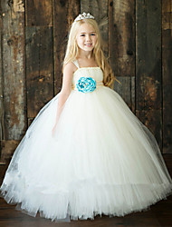 cheap -Ball Gown Ankle Length Flower Girl Dress - Polyester Tulle Sleeveless Spaghetti Straps with Flower