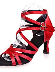 preiswerte -Damen Schuhe für den lateinamerikanischen Tanz Satin Sandalen Schnalle Keilabsatz Keine Maßfertigung möglich Tanzschuhe Silber / Braun /