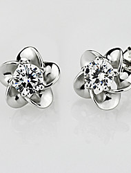 Damen Ohrring Silber Kristall Stud Earrings
