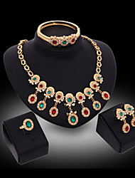 cheap -Women's Cubic Zirconia Imitation Diamond Jewelry Set Bracelet Earrings Necklace Ring - Luxury Cute Party Bangle Rainbow For