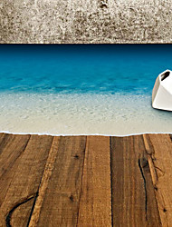 cheap -70*50Cm Fashion Blue Beach Floor Stickers Removable Living Room Bedroom Wall Decals