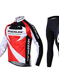 Mysenlan Cycling Jersey with Tights Men's Long Sleeves Bike Pants / Trousers Jersey Tights Clothing Suits Thermal / Warm Windproof Fleece