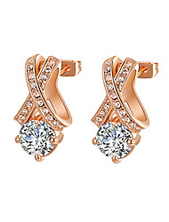 cheap -HKTC Clear Crystal Jewelry 18k Rose Gold Plated X Style Cubic Zirconia Diamond Stud Earrings