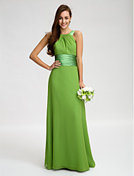 Sheath / Column Straps Floor Length Chiffon Bridesmaid Dress with Sash / Ribbon Ruching by LAN TING BRIDE®