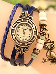 baratos -Mulheres Bracele Relógio Venda imperdível Couro Banda Fashion Preta / Azul / Laranja / Aço Inoxidável