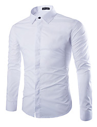 cheap -Men's Plus Size Cotton Slim Shirt - Solid Colored