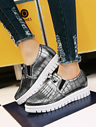 cheap -Women's Shoes Leatherette Low Heel Platform / Round Toe Fashion Sneakers Outdoor / Athletic / Casual White / Silver