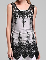 cheap -Women's Plus Size Cotton Tank Top - Embroidered, Lace Cut Out Mesh U Neck