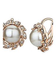 HKTC Bridal Party Jewelry 18k Rose Gold Plated White Simulated Pearl Sunflower Clip on Earrings